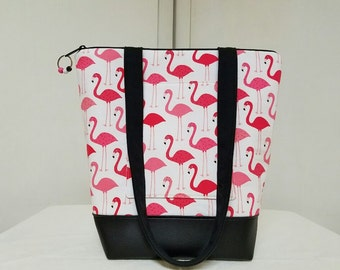 Flamingo Tote Bag/Purse, Birds, Vinyl Bottom,Lining with 2 Pocket Sections, 1 Exterior  Pocket,Medium Size Tote Bag, Over Shoulder Straps.