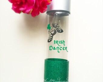 Custom Glittered Water Bottle// Irish Dancer