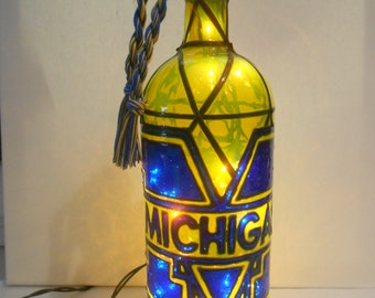 Michigan inspired Hand paintedWine Bottle Stained Glass Look