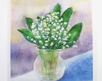 Lilley Of The Valley Painting on hangable tile Original Watercolor