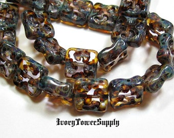 15 Czech Glass Beads, Square Beads, Lt Rose Picasso Beads