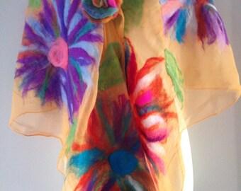 nuno felted flower scarf-shawl