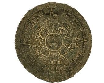 Vintage maya calendar wall art round artifact souvenir tribal decor