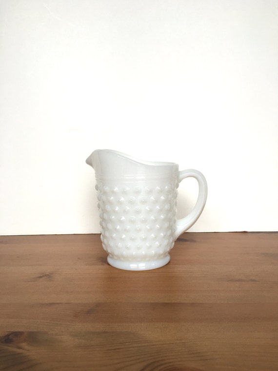 Vintage milk glass pitcher hobnail pattern white creamer