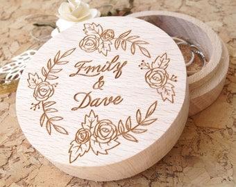 Wedding ring box, personalized wooden ring box, wedding ring box, ring bearer box, rings holder, rustic ring box, custom engraved ring box