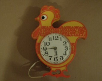 Vintage 1970's Rooster Chicken Wall Electric Clock