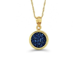 "14k solid yellow gold steel blue drusy stone pendant on 18"" solid gold chain."