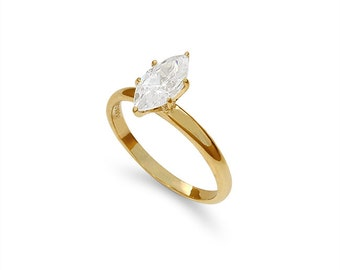 14k solid gold Marquise Zircon solitaire ring. engagement ring. promise ring