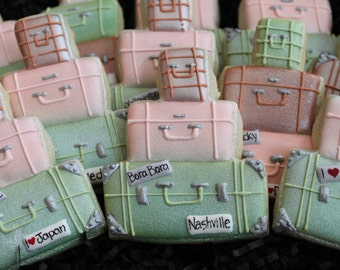 Luggage cookies, retirement cookies, traveling cookies, custom cookies, honeymoon cookies, birthday cookies