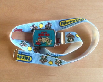 Vintage 80s Elastic Super Mario Brothers Lee Jeans Belt with Buckle