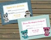 20 Printed Beanie Friend Adoption Certificates