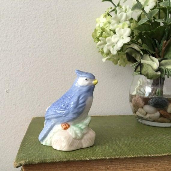 Blue bird figurine blue bird toothpick by annmariefamilytree - Bird toothpick holder ...