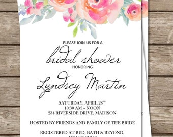 Bridal Shower Peonie Invitation | Flowers | Elegant | Artsy | Watercolor