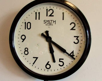 1920s/1930s Smiths Sectric Vintage Electric Industrial Wall Clock