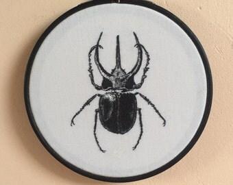 Beetle embroidery hoop wall hanging