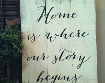 Home Is Where Our Story Begins, Welcome Gift, Housewarming Gift, Rustic Wood Sign, New Home Gift, Bridal Shower Gift, Wedding Gift,