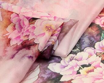 Floral Printed Silk Fabric - Silk Crepe de Chine - Silk Chiffon Fabric with Floral Print - Colorful Floral printed silk Chiffon - SF14