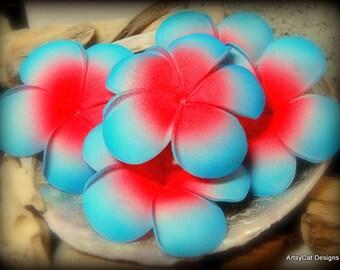 Red & Blue Plumeria Frangipani Hair Clip, Plumeria hair flower, Hawaiian, Beach Wedding, Bridal, Luau, Tropical flower for hair, free gift