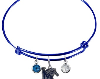 Memphis Tigers COLOR EDITION Wire Charm Expandable Bangle Bracelet w/ Blue & Clear Crystal Rhinestone Charms - Pick Your Color