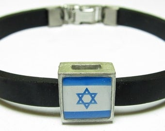Jewish Star Of David Link With Choice Of Colored Band Charm Bracelet