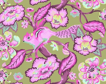 CHIPPER 1/2 yard by Tula Pink for Westminster fabrics Chipmunk Raspberry