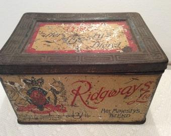 ANTIQUE RIDGWAYS TEA Tin, Her Majesty's Blend, 1900s