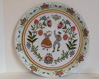 Large Round Vintage Maxey Folk Art Tin Tray  Red And Gold Metal Serving Platter