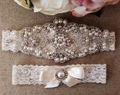 Wedding Garter - Bridal Garter - Pearl and Crystal Rhinestone Garter