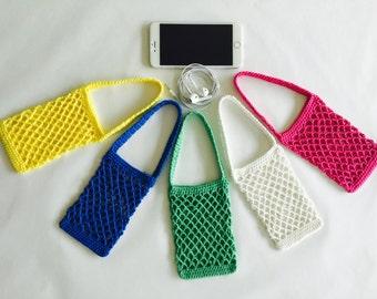 "IPhone Case ""MARKET BAG"" Handmade Crochet iPhone cozy tote"