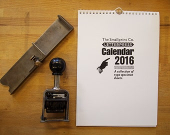 SALE Limited Edition Letterpress Calendar 2016