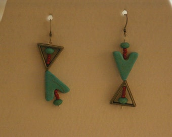 Turquoise triangle earrings
