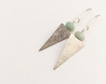 Green Amazonite and Silver Long Triangle Earrings