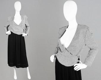 Vintage 80s MANI by ARMANI Made in Italy Woven Linen Jacket Black & White Monochrome Jacket 80s Smart Blazer Cardigan Suit Jacket Designer
