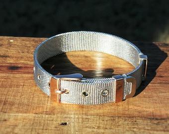 Rustic Silver & Rose Gold Buckle Bracelet