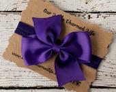 Dark Purple Headband, 4 Inch Hair Bow, Purple Hair Bow, Baby Headband, Infant Headband, Toddler Headband, Bow Headband, Headband With Bow