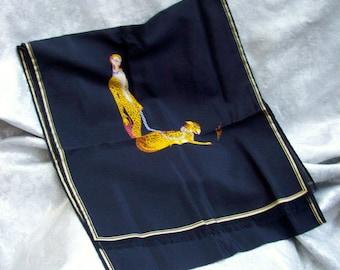 "Vintage Circa 1980'S ERTE Italian SILK SCARF with Letter ""L'"" Art Deco Female Figure"