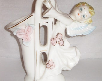 Beautiful Orchardware Quality Products Music Angel with Flowers, Gold Detail and Trombone