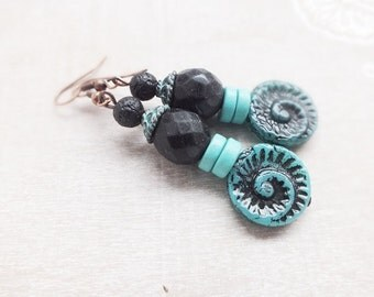 Bohemian Earrings - Black turquoise Earrings - Gypsy Earrings-Festival Earrings