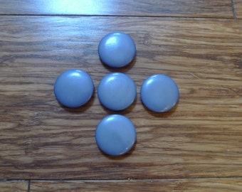 Vintage blue buttons, 5 blue buttons, sewing supplies, knitting supplies