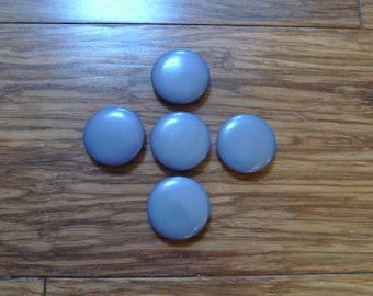 5 vintage blue buttons