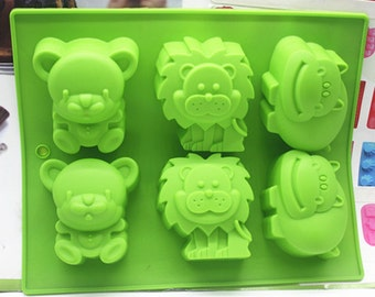 Flexible Silicone Animals Cake Soap Mould For Fimo Resin Crafts