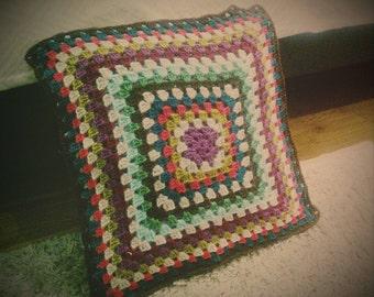 Granny square crochet pillow cushion