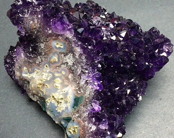 Amethyst Flower 480g Stalactite Section Deep Grape Purple Crystal Cluster Uruguay