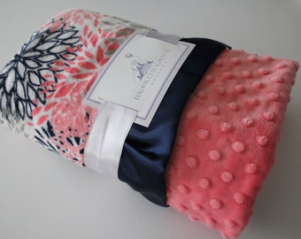 Premier Prints Blooms Mockingbird Minky Cuddle Coral, Navy, and White Minky Blanket, Crib Bedding, Nursery, Baby Shower, Baby Girl