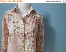 ON SALE Vintage SHEER Top van gogh shirt Watercolor print blouse long sleeve button down shirt pink floral made in usa womens xs small