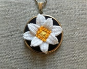 Hand Embroidered Hoop Necklace, Embroidered Flower Hoop Necklace, Stumpwork Embroidered Flower Necklace, Embroidered Flower Jewelry