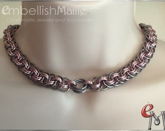 Modified Orbital Vipera Berus Chainmaille Choker/Necklace.~Perfect for Him or Her. Lead/Nickel Free. Perfect for Renaissance Fest/Fair