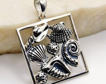Ocean Treasures' Solid .925 Sterling Silver Seashells Pendant Jewelry , Z669