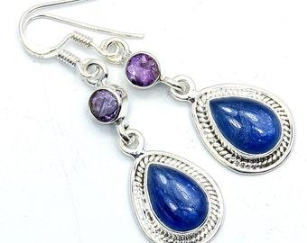 Kyanite, Amethyst & .925 Sterling Silver Dangle Earrings ; W331