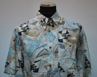Vintage PRINTED SILK SHIRT , men's silk shirt ....